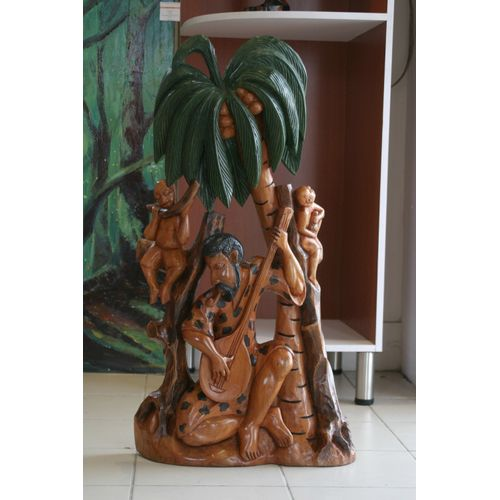 Musicians On A Tree Mixed Media On Durable Woodwork 90 X 42