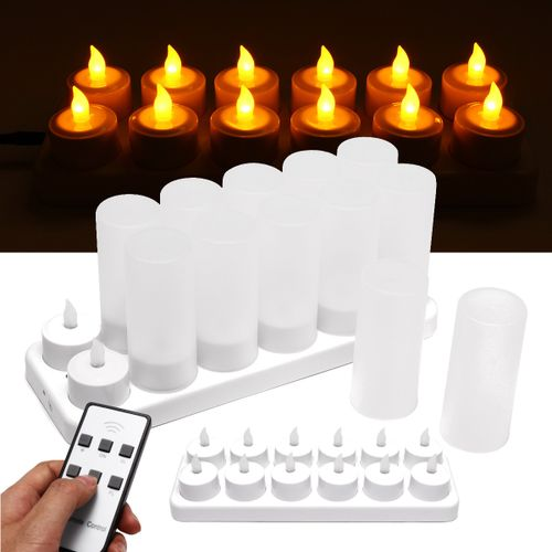 12pcs Rechargeable LED Tea Light Flickering Flameless Candles Remote Control IE