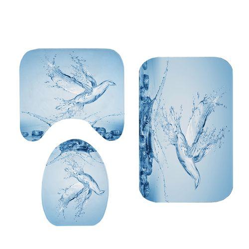 Waterproof Bathroom Bird Shower Decor Toilet Seat Cover Bath Mat