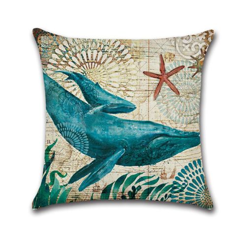 Dtrestocy Seabed Animal Home Decor Cushion Cover Marine Life Throw Pillowcase Pillow Cover