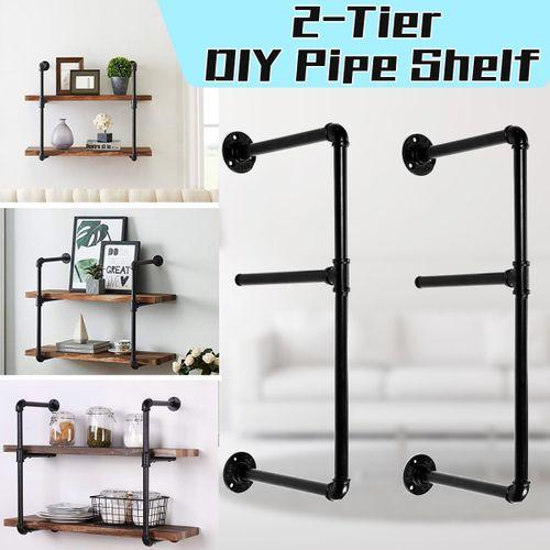2 Tier Industrial Wall Shelf Storage Shelves Iron Pipe Black DIY