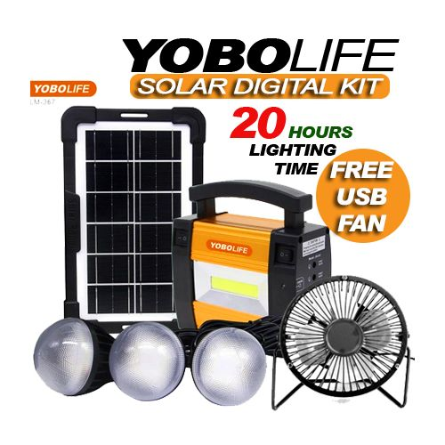 SOLAR ENERGY KIT PORTABLE WITH 3 BULBS AND FREE USB FAN