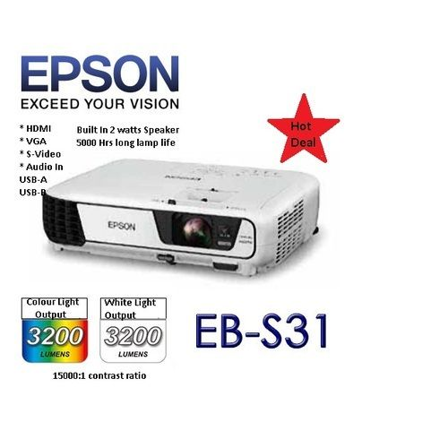 EB-S31 3200 Lumens 3LCD SVGA Technology HDMI Projector
