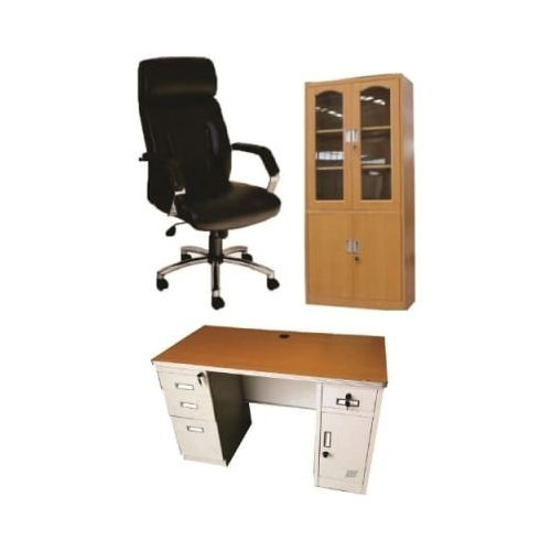 Office File Cupboard And Exquisite Metal Office Table + Executive Leather Chair