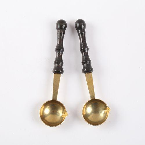Copper Spoon Vintage Wax Seal Vintage Van The Fire Spoon Structure Wooden Handle + Copper Spoon Spoon Is A Beak Design Not Hot