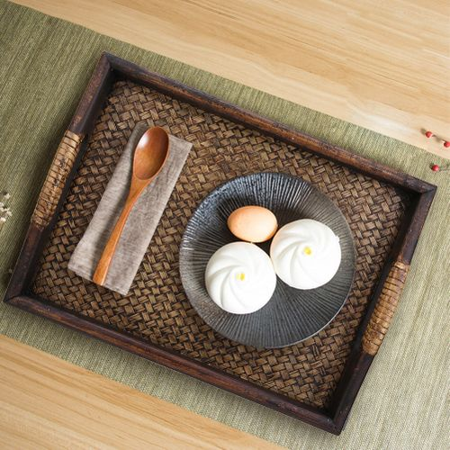 Multi-purpose Serving Tray For Tea Set Rectangle Food Tray Serving Plate Vintage Rattan Wood Display Stand For Fruits Candies Food Home Parties Supply