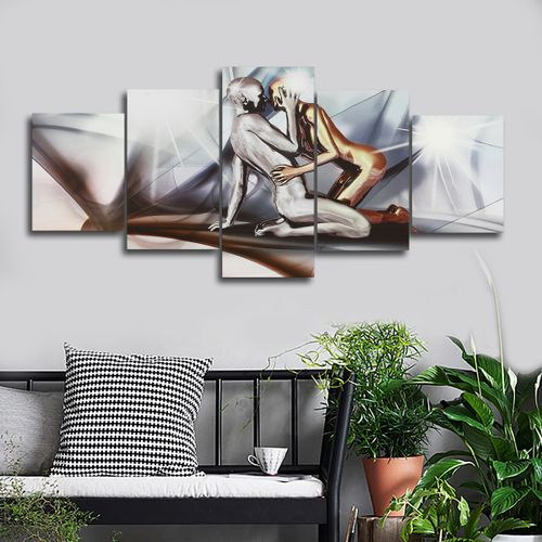 5 Panels Modern Huge Man&Lady Canvas Prints Wall Art Painting Picture Home