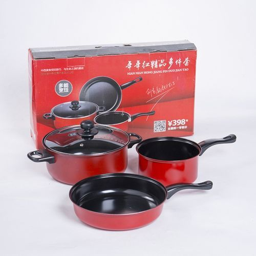 3pcs Cookware Pot Set Cooking Utensils Flat Bottom Non-stick Pan With Transparent Cover Specification:3 Sets Style:Red