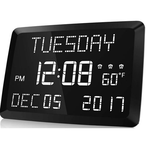 "11.5"" Large LED Digital Alarm Clock,12/24H Word Display"