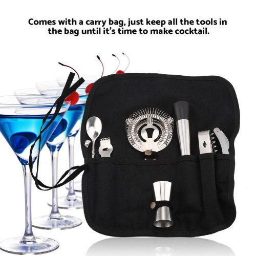 7PCs Cocktail Shaker Stainless Steel Wine Drink Mixer Tools Kit With Carry Bag