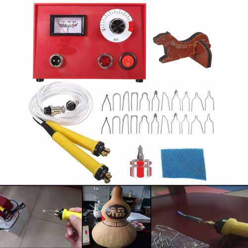 50W Multifunction Pyrography Machine + 2X Pen For Gourd Wood Crafts Tool Kit Set