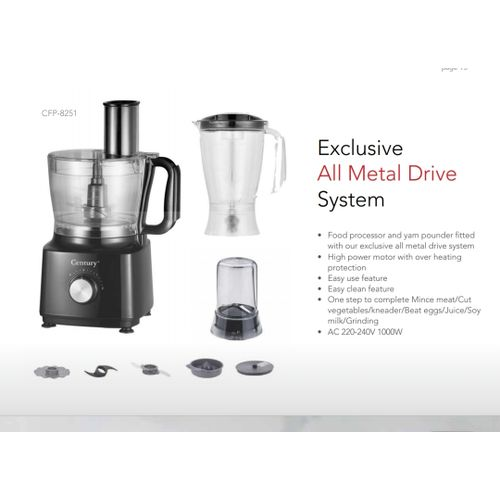 FOOD PROCESSOR AND YAM POUNDER-1000W