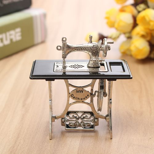 Vintage Miniature Dollhouse Sewing Machine Furniture Table Metal Home Decoration