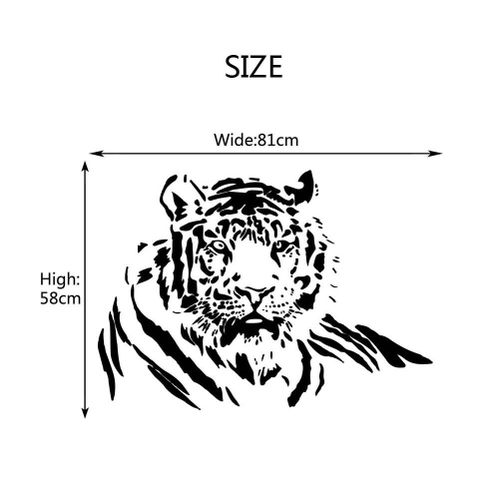 Removable Bedroom Living Room Wall Decal Aggressive Tiger Background Sticker Home Decor