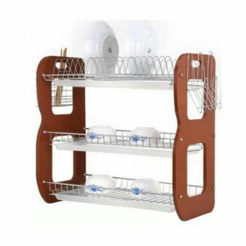 Dish Rack With Drainer - 3 Tiers