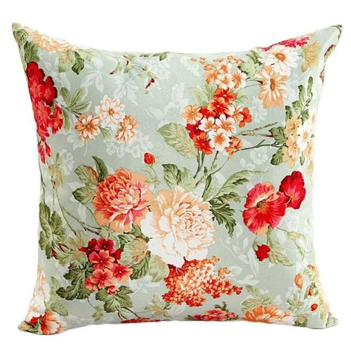 Houseworkhu Beautiful Flowers Sofa Bed Home Decor Pillow Case Cushion Cover GN -Green