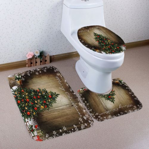 Christmas Tree Wood Pattern 3 Pcs Toilet Mat Bath Mat