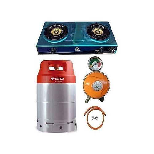 Cepsa Gas Cylinder 12.5kg With Best Choice Gas Cooker, Amcool Metered Regulator, Hose & Clips - Multicolor