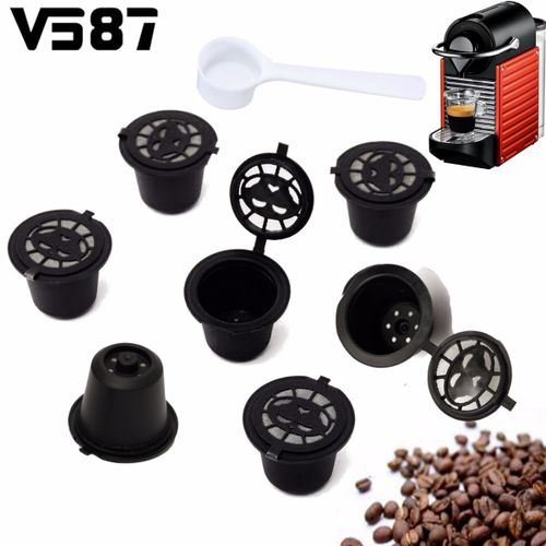 7pcs Refillable/Reusable Coffee Capsules Pod For Nespresso Stainless Steel Filters