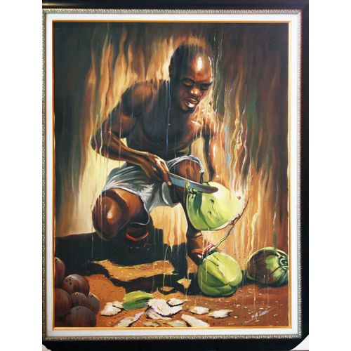 Coconut Peeler Oil On Canvas Art Paint Work 90 By 120 Cm