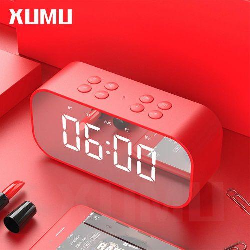 Xumu BT501 Portable Wireless Bluetooth Speaker Column Subwoofer Music Sound Box LED Time Snooze Alarm Clock For PC Laptop Phone