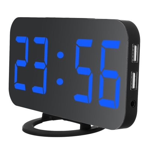 Dual USB Digital LED Clock Snooze Mirror Alarm Time Night Mode Bedroom Office