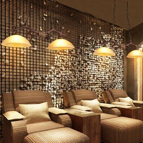 Mediterranean Antler Resin Double Lights Retro Glass Lamp Shade
