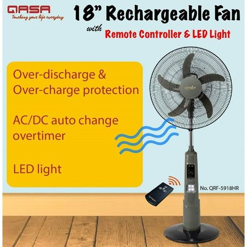 """18"""" Rechargeable Standing Fan + Remote + LED Light"""