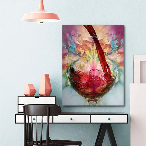 Abstract Giclee Red Wine Glass Oil Painting Canvas Print Wall Art Picture Decor Unframe