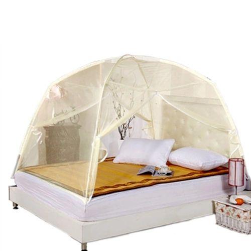 Summer Bi-parting Folding Mesh Insect Bed Mongolian Yurt Mosquito Net Beige