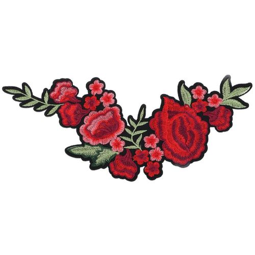 Plum Blossom Rose Embroidered Patch DIY Decoration Cloth Iron Sew Sticker Craft Accessories Sewing Tool