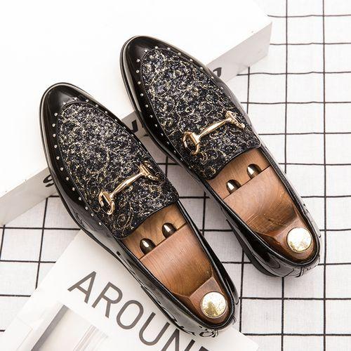 Italian Men's Dress Shoes Custom Rhinestone Business Loafers