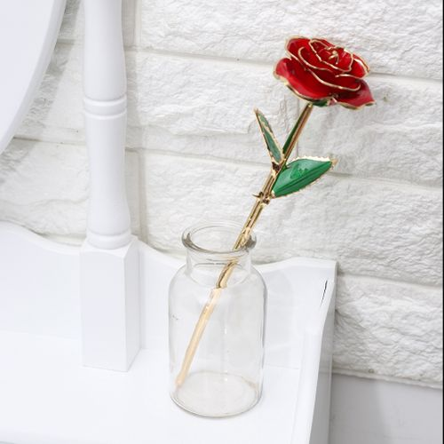 11'' Multicolor Rose Long Stem 24k Gold Dipped Real Rose Flower Valentine Birthday Gifts Wedding New Year Gifts DIY Wreath