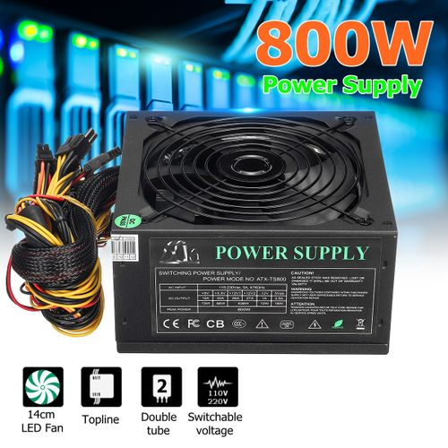 800W Computer Power Supply PC PSU 24Pin SATA 6Pin 8Pin Quiet Green LED Fan