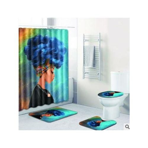 Bathroom Shower Curtain Toilet Cover Mat