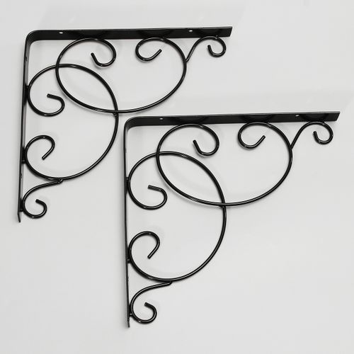 1 Pair Iron Wall Mounted Shelf Bracket L Shaped Supporter Decoration