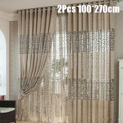 2Pair 100*270cm Living Room Bedroom Curtain Floral Tulle Door Window Curtain Curtains Scarf Drapes Valance Home Decor