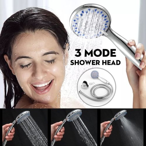 Shower Head Set Chrome Anti-Limescale Bath + 1.5M Hose