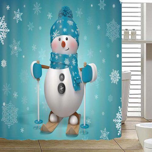 Skiing Snowman Christmas Decor Waterproof Bath Home Shower Curtain + Hooks 71''