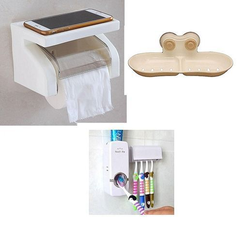 Toilet Bundle, Roll Tissue Paper,Automatic Toothpaste Dispenser,Soap Dish