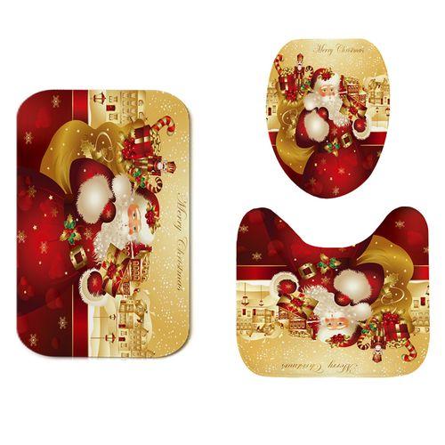 3Pcs/set Christmas Man Red Gift Bathroom Mat Set Flannel Anti-Slip Kitchen Mat Carpet Bathroom Toilet Rug Bath Mats Set
