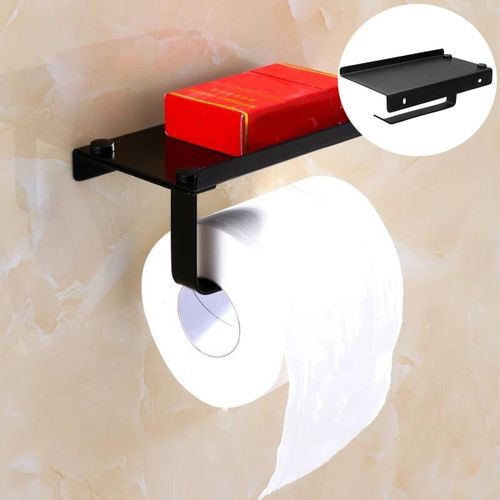 Toilet Paper Holder Roll Bathroom W/ Phone Storage Shelf Tow