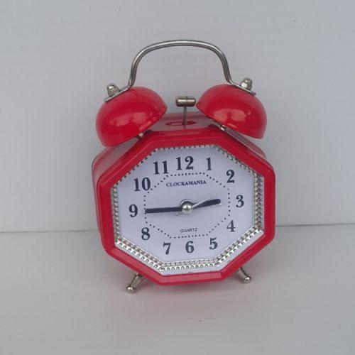 OCTAGON Bell Alarm Clock - Red