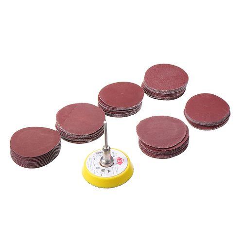 62pc 50mm Sanding Sander Backing Pad Rotary Drill Bit Sandpaper Disc Tool