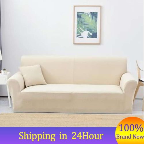 (4 Seater)7 Solid Colors Full Stretch Elastic Sofa Covers Couch Protective Slipcover Hot Sale