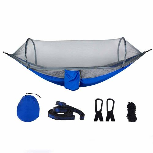 Automatic Speed Open Mosquito Net Hammock Outdoor Camping Blue Grey