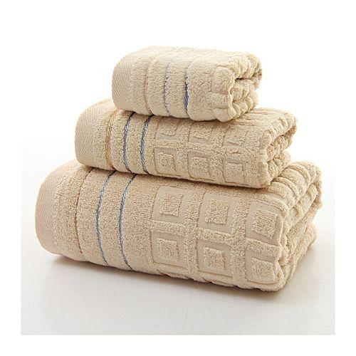 3pcs Pure Cotton Twist-less Bath Face Towels Home Hotel Spa Salon Soft Jacquard Weave Towel Set