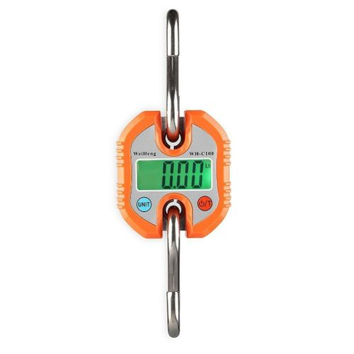 150kg/50g Mini Crane Scale Portable Digital Stainless Steel Hook Hanging Scale Loop Weighing Balance Green LCD Backlight WHC-100(B)