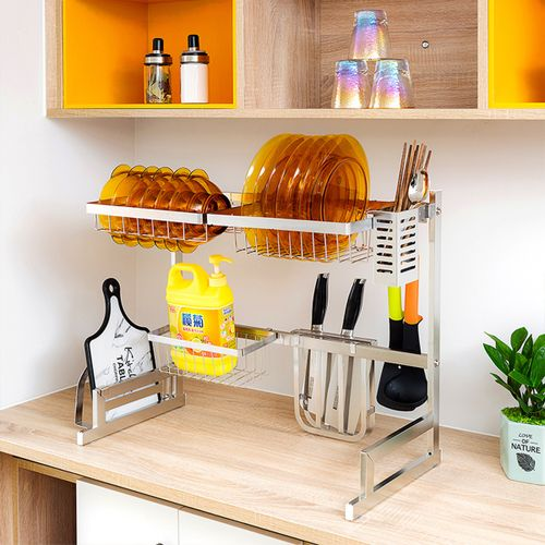 Over Sink Dish Drying Rack Drainer Stainless Steel Kitchen Holder Shelf