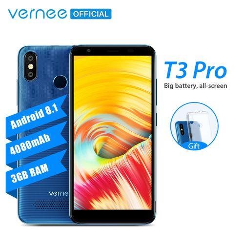 T3 Pro 5.5-Inch MTK6739 Quad-Core (3GB, 16GB ROM) Android 8.1 Oreo, 13MP Dual SIM 4080mAh, Face ID Smartphone - Blue